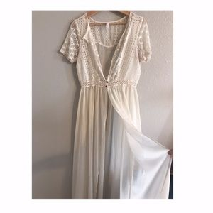 Boho maxi sheer cover up dress